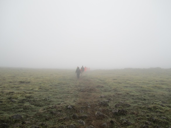 Into the lava field gloom. On a clear day, you should be able to see Reykjavik during this hike.