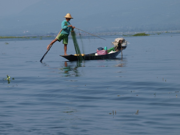 Traditional leg-rower of Inle Lake